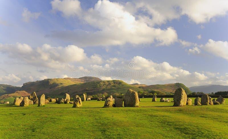 Ovejas del círculo de Castlerigg, verano imagenes de archivo