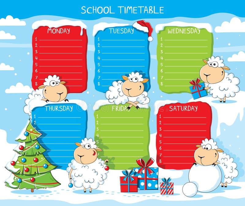 Ovejas divertidas del calendario de la escuela libre illustration