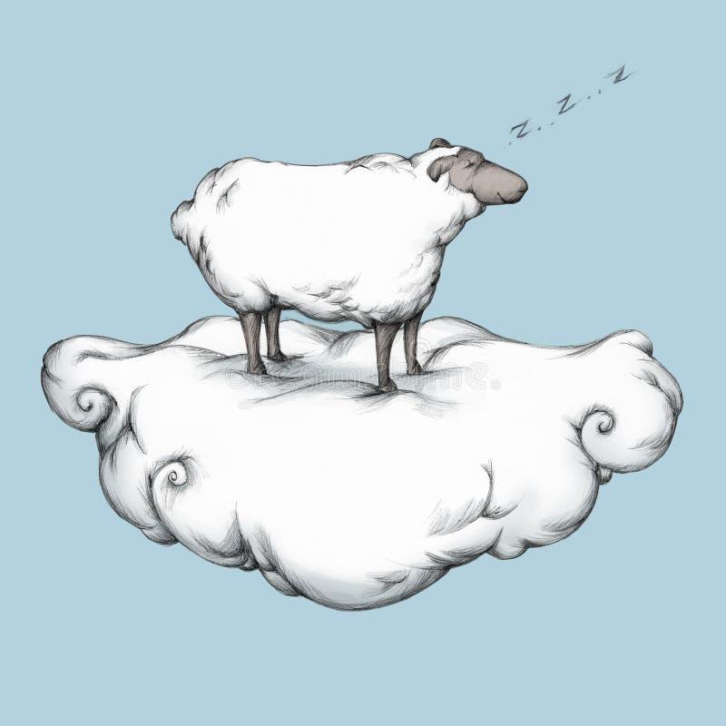 Ovejas el dormir en una nube ilustración del vector
