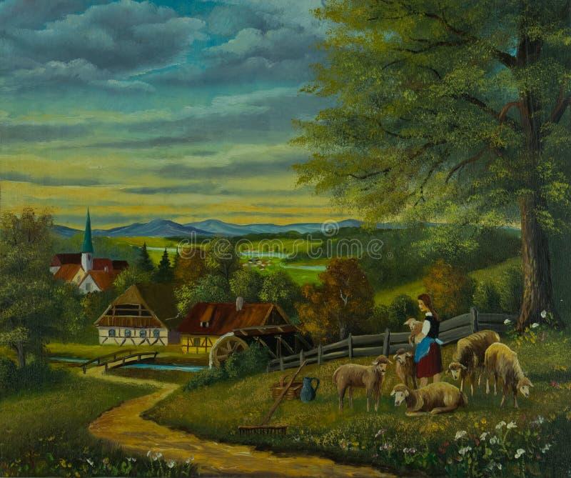 Ovejas en un prado de la flor delante de un pueblo stock de ilustración