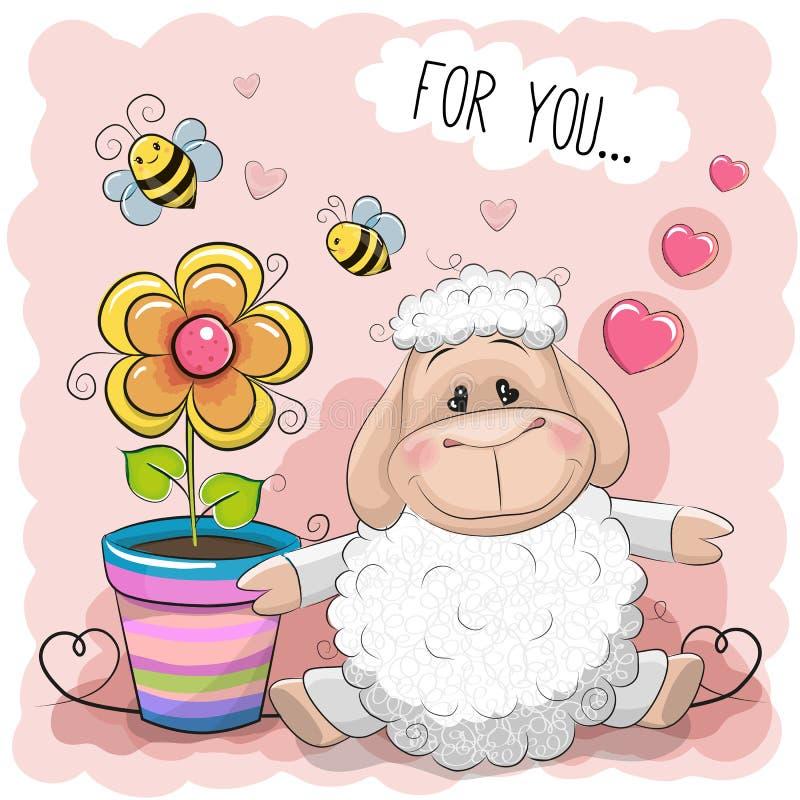 Ovejas lindas de la historieta de la tarjeta de felicitación con la flor stock de ilustración