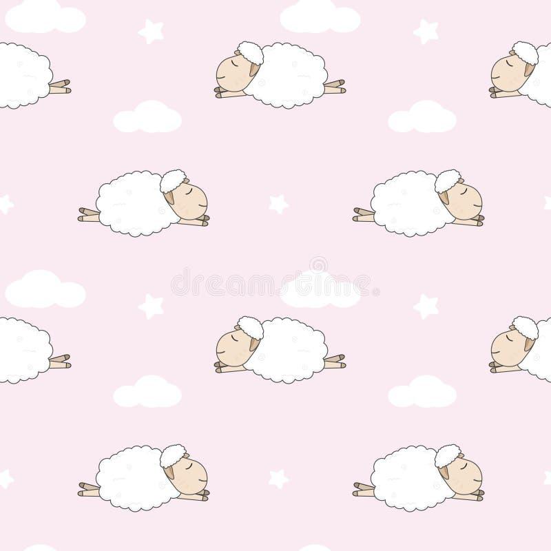 Ovejas lindas que duermen y modelo inconsútil de la nube en fondo rosado libre illustration