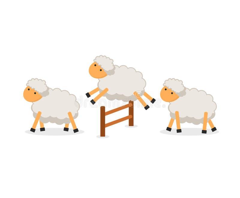 Ovejas lindas que saltan sobre la cerca aislada en el fondo blanco Contando ovejas para caer dormido stock de ilustración