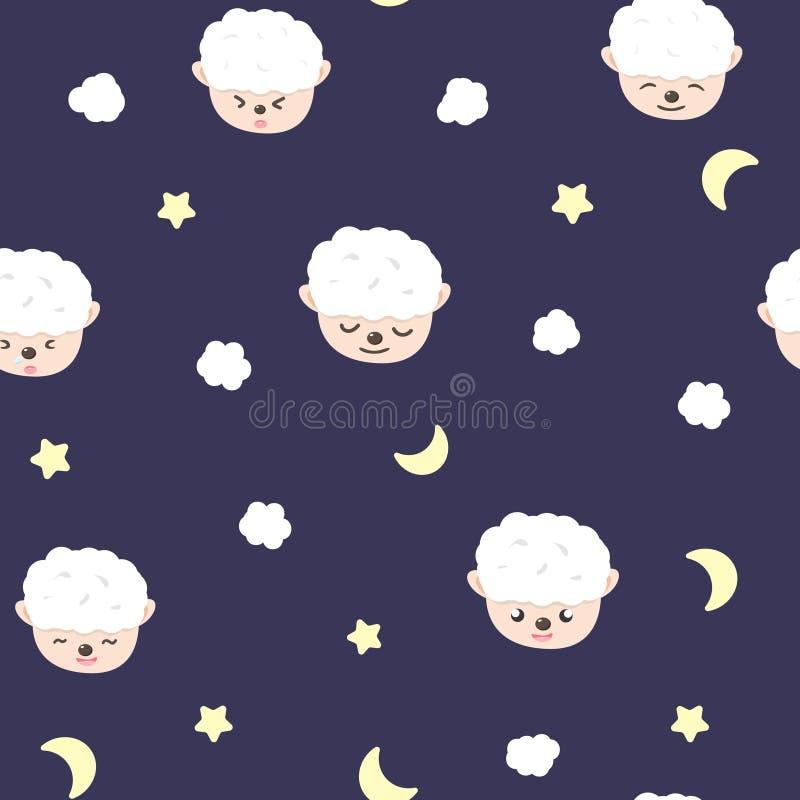 Ovejas, luna y estrellas, modelo inconsútil adorable del bebé, concepto de los pijamas para la historieta del vector de la textur stock de ilustración