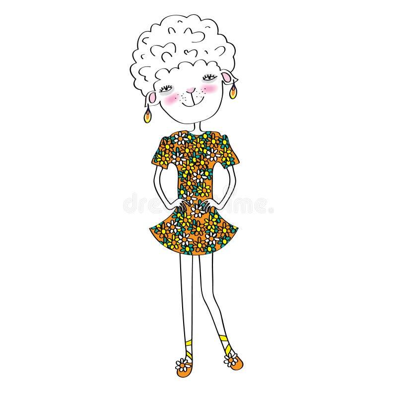 Download Ovejas, moda-tratante ilustración del vector. Ilustración de sonrisa - 41905346