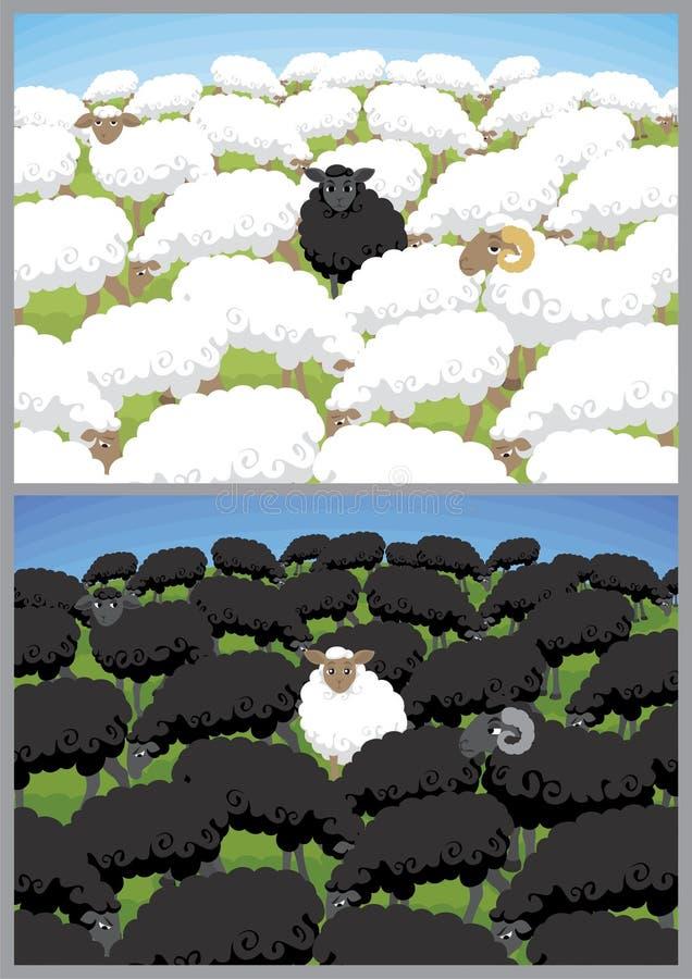 Ovejas negras ilustración del vector