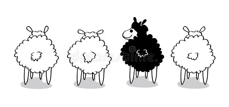 Ovejas negras stock de ilustración