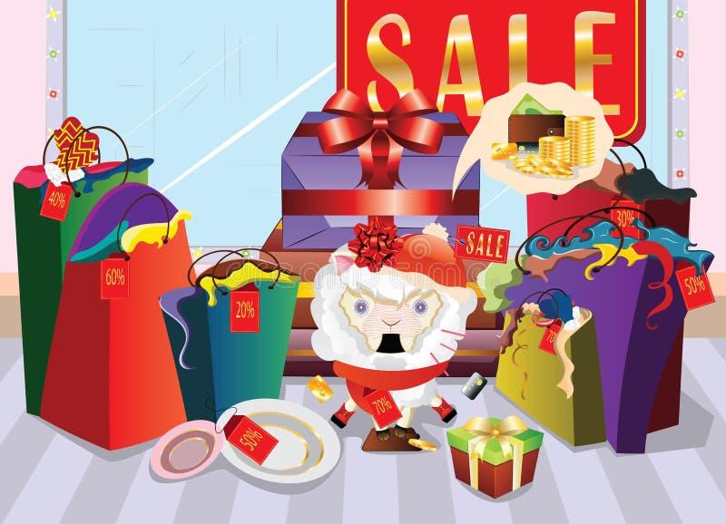 Ovejas que hacen compras chocadas libre illustration