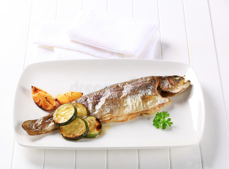 Oven baked trout stock photography