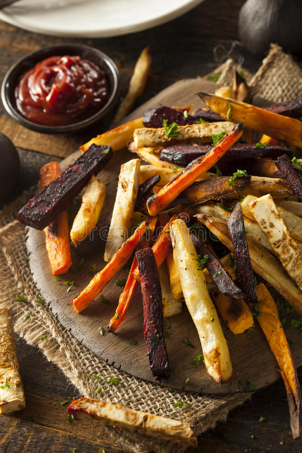 Oven Baked Vegetable Fries stockfotos