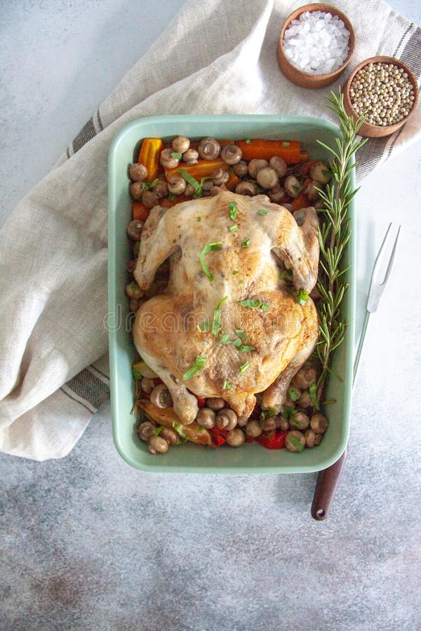 Oven bakes chicken with veggies and mushrooms stock image