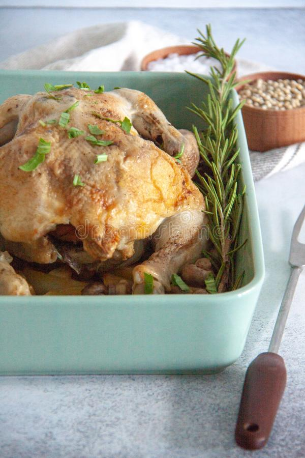 Oven bakes chicken with veggies and mushrooms stock photo