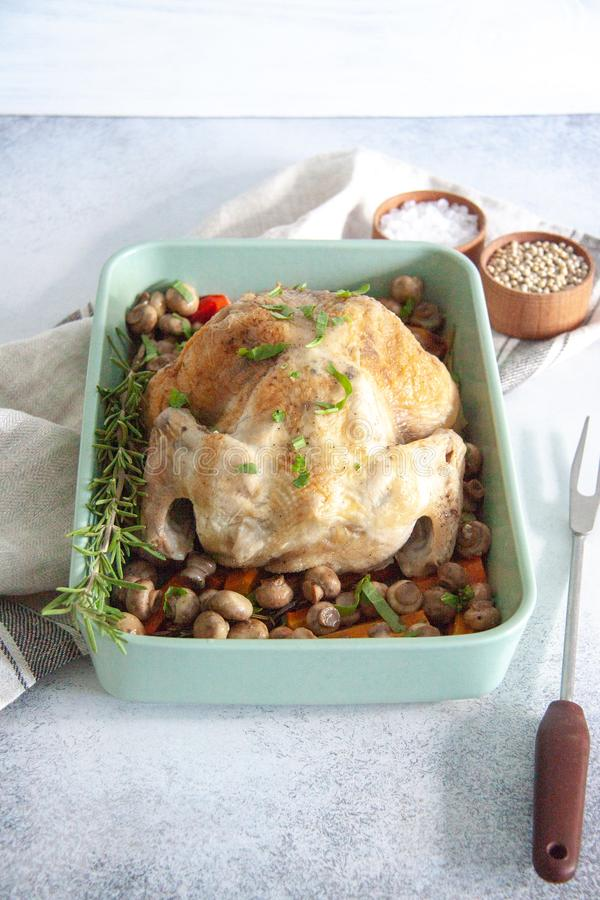 Oven bakes chicken with veggies and mushrooms stock images