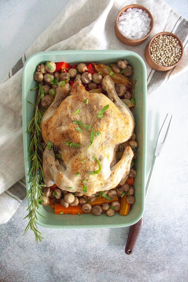 Oven bakes chicken with veggies and mushrooms royalty free stock photography