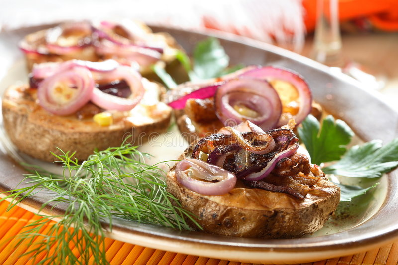 Oven beef with red onion stock images