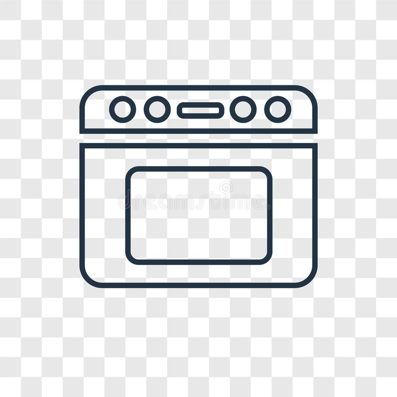 Oven concept vector linear icon isolated on transparent background, Oven concept transparency logo in outline style. Oven concept vector linear icon isolated on vector illustration
