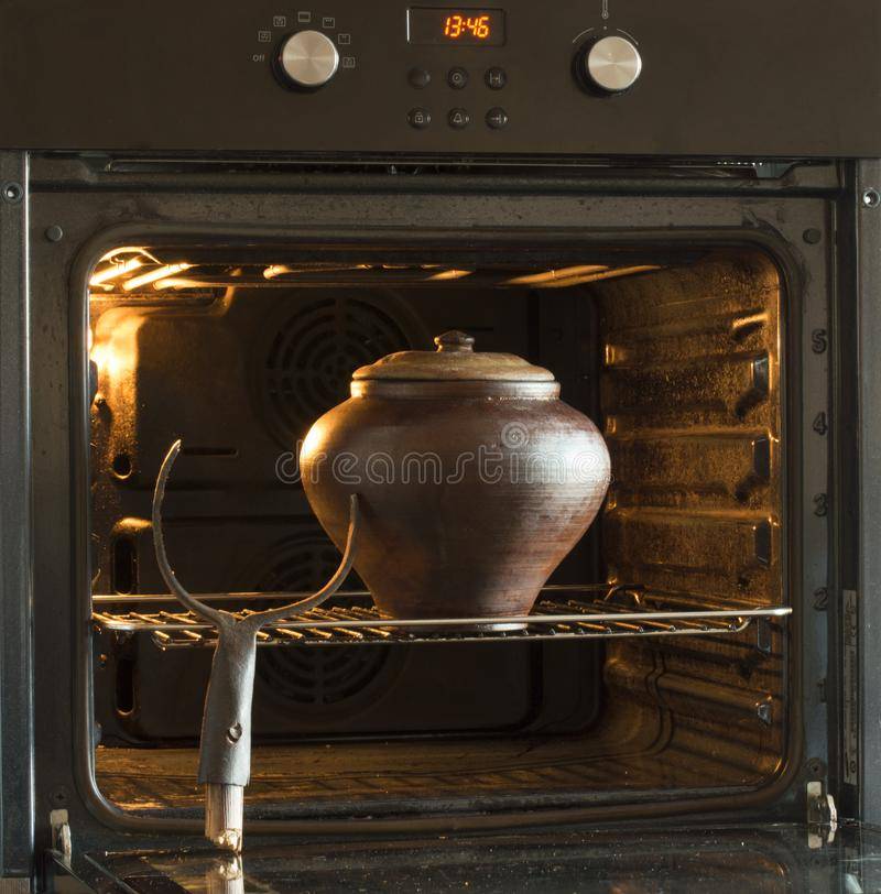 Oven, crock pot, and grasping. Russia stock image