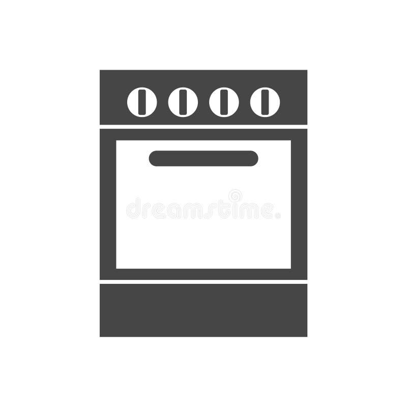 Oven Icon, ícone do fogão, ícone do fogão liso ilustração do vetor