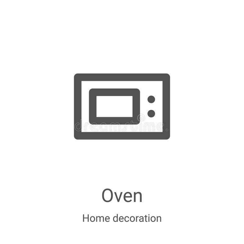 oven icon vector from home decoration collection. Thin line oven outline icon vector illustration. Linear symbol for use on web royalty free illustration