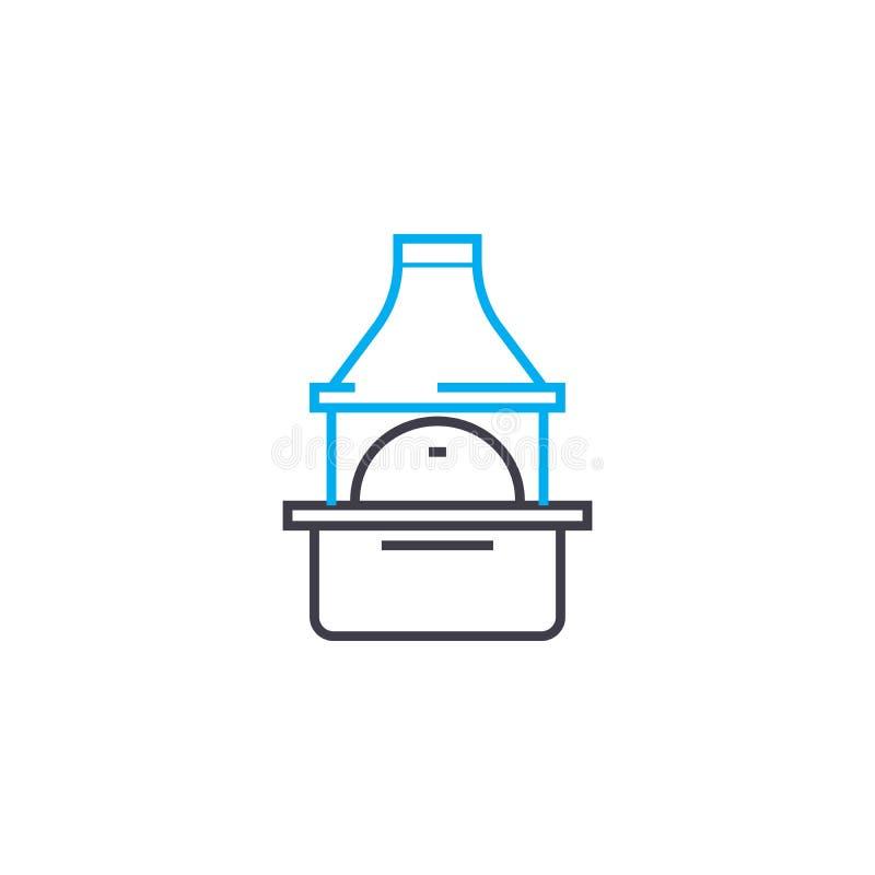 Oven met concept van het schoorsteen het lineaire pictogram Oven met het vectorteken van de schoorsteenlijn, symbool, illustratie royalty-vrije illustratie