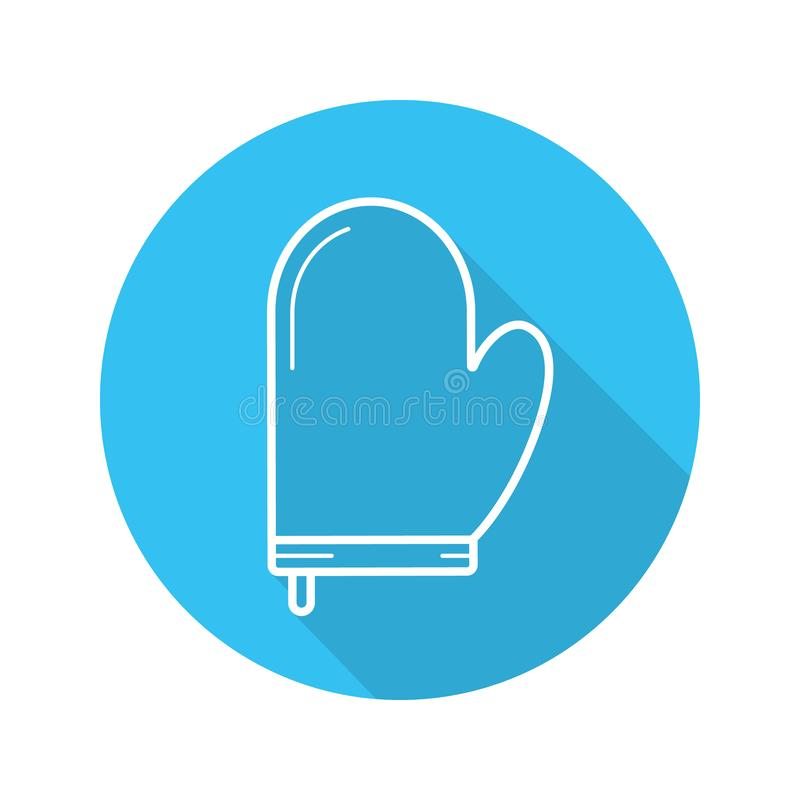 Oven mitt flat linear long shadow icon royalty free illustration