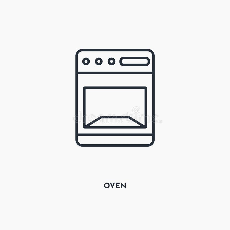 Oven outline icon. Simple linear element illustration. Isolated line oven icon on white background. Thin stroke sign can be used vector illustration