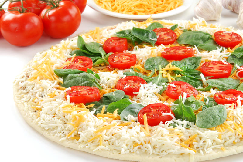 Oven ready pizza stock image