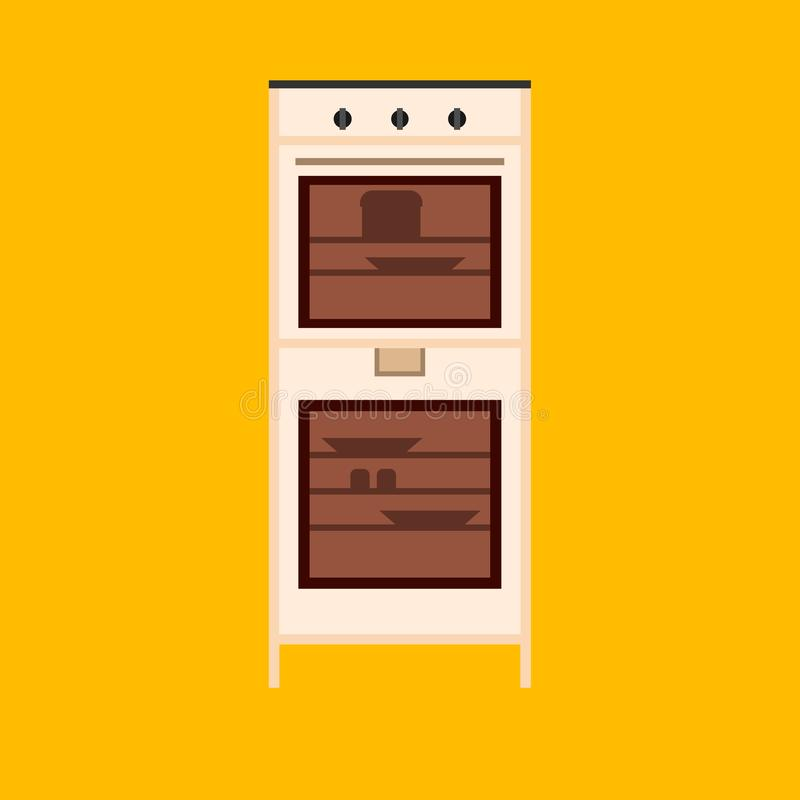 Oven vector illustration appliance cooking kitchen. Icon stove equipment domestic food. Kitchenware chef power machine stock illustration
