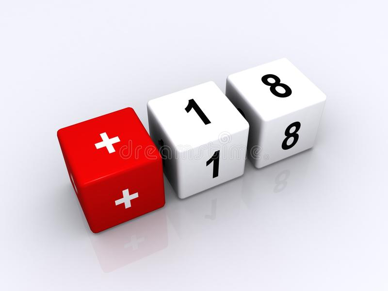 Over 18. Letter blocks with the numbers +18, over 18 year olds only concept royalty free illustration