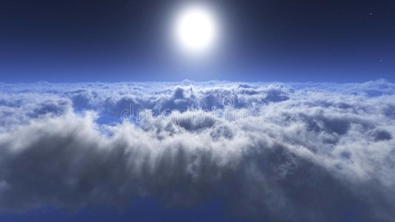 Over the clouds environment map. In the clouds, the sun in clouds, over the clouds environment map royalty free stock photo