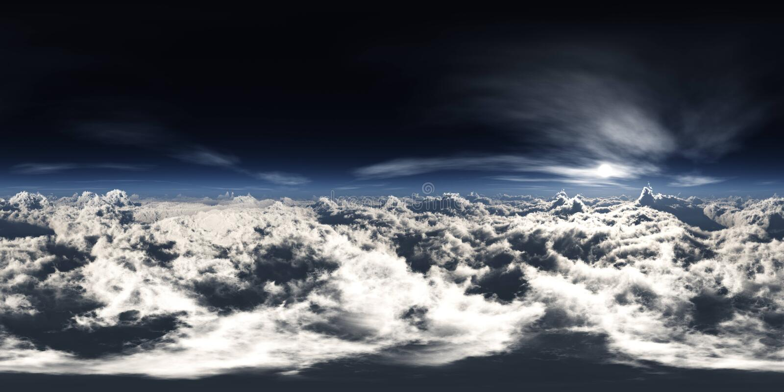 Over the clouds HDRI, environment map. In the clouds, the sun in clouds, over the clouds HDRI, environment map royalty free stock images