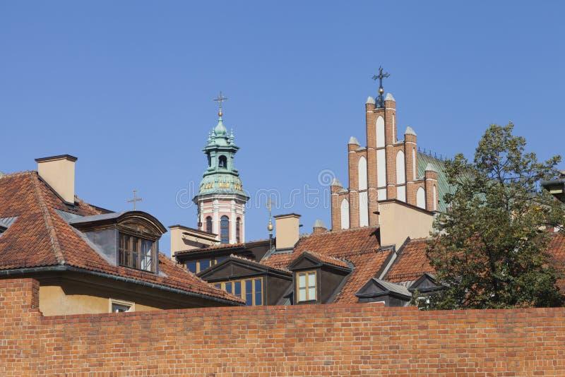 Over daken van Oude Stad in Warshau royalty-vrije stock afbeelding