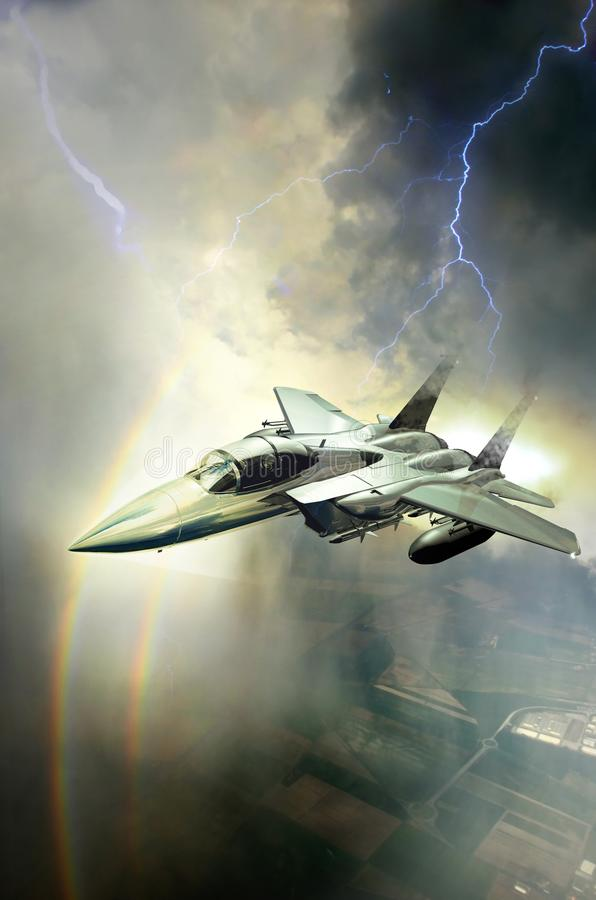 Over double rainbow. F15 plane, flying through clouds under a storm, while flashes of lightnings cross the sky near it, over a double rainbow vector illustration