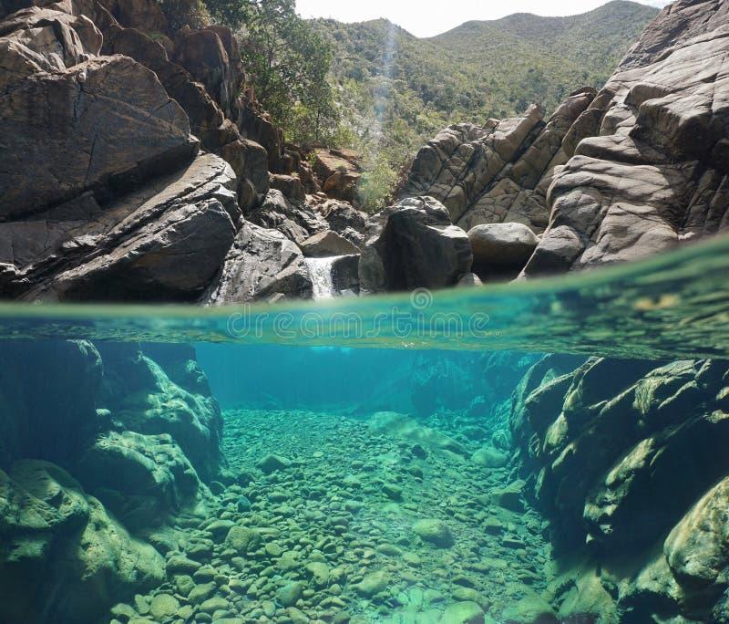 Over en onderwaterrivierrotsen met duidelijk water royalty-vrije stock afbeeldingen