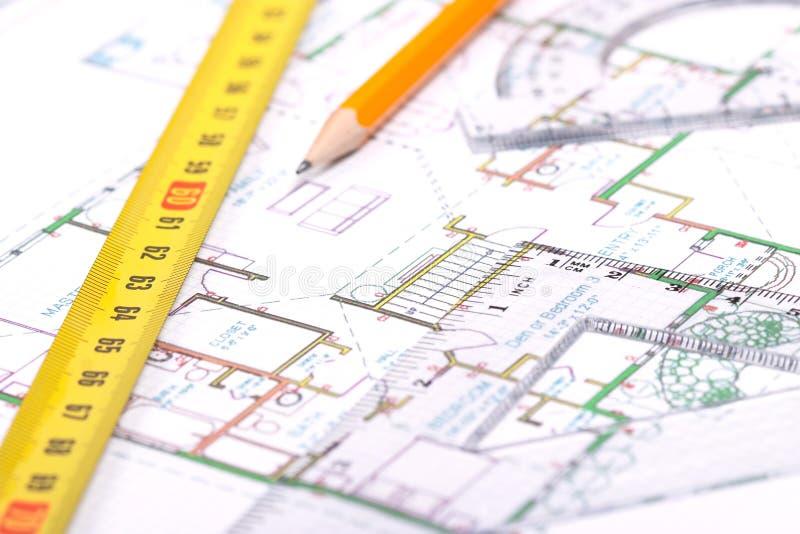 Over het vloerplan stock afbeelding