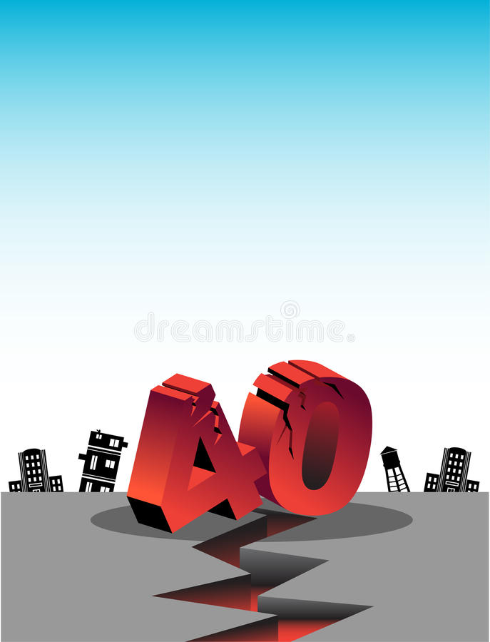 Over the Hill at 40. 3D image depicting an earthquake occurring as the big 40 birthday nears vector illustration