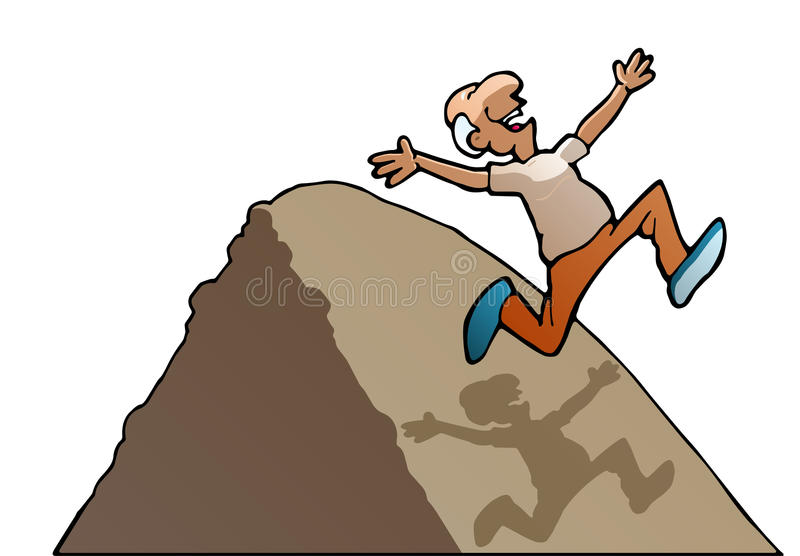 Over the hill. Illustration of a succesful running old man over the hill on isolated white background royalty free illustration