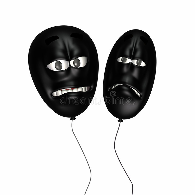 Over the Hill Smiley Balloons. Two Over the Hill Smiley Birthday Balloons royalty free illustration