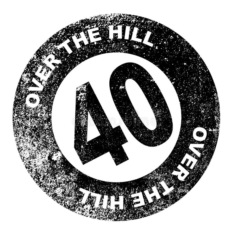 Over the Hill Stamp. A over the hill at 40 rubber stamp over a white background vector illustration