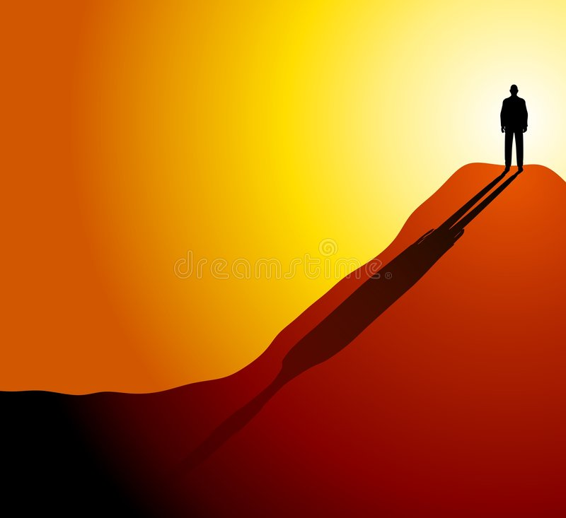 Over The Hill or Under The Sun. An illustration featuring a man standing high up on a hill or mountain with his long shadow going down the side - to represent vector illustration