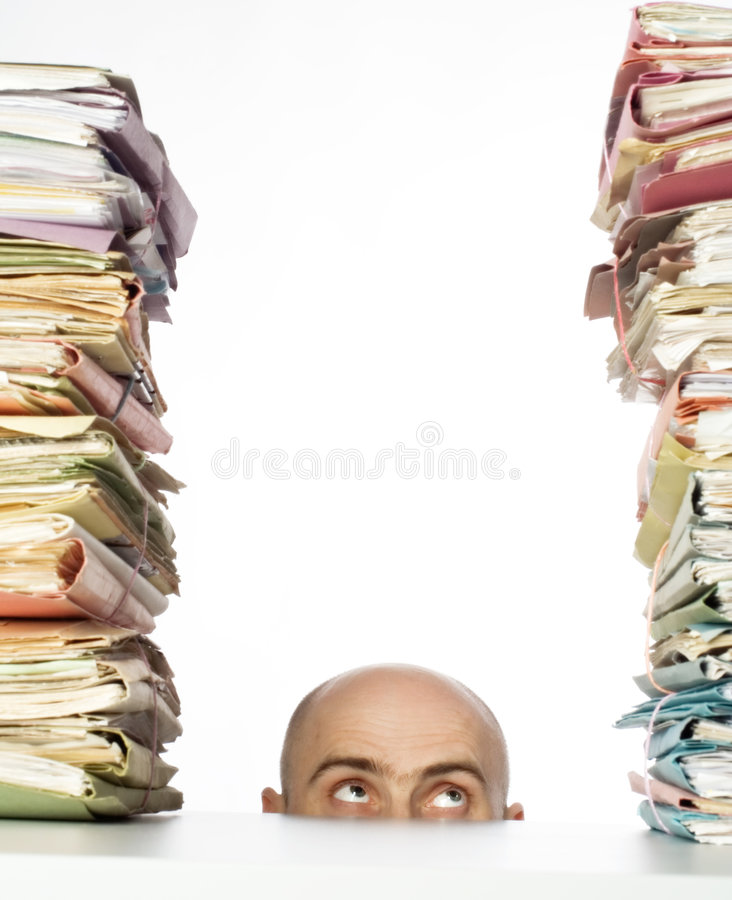 Download In Over His Head stock photo. Image of mass, bald, folders - 2110594