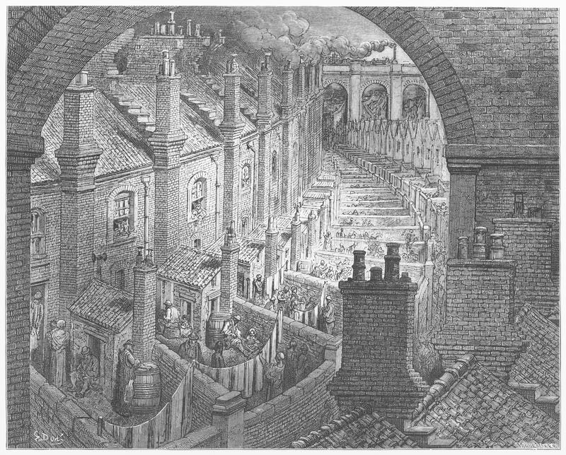 Over London by Rail. Picture from Gustave Dore's London: a Pilgrimage illustrated book published in 1873, London - UK