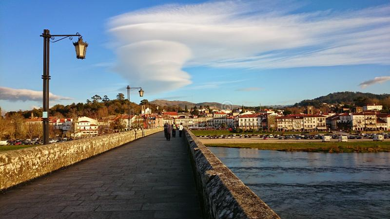 Over the medieval bridge in Ponte de Lima royalty free stock photo