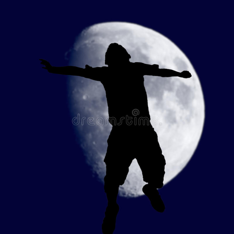 Over the moon success. Jumping for joy, silhouette of a child in this over the moon / success concept