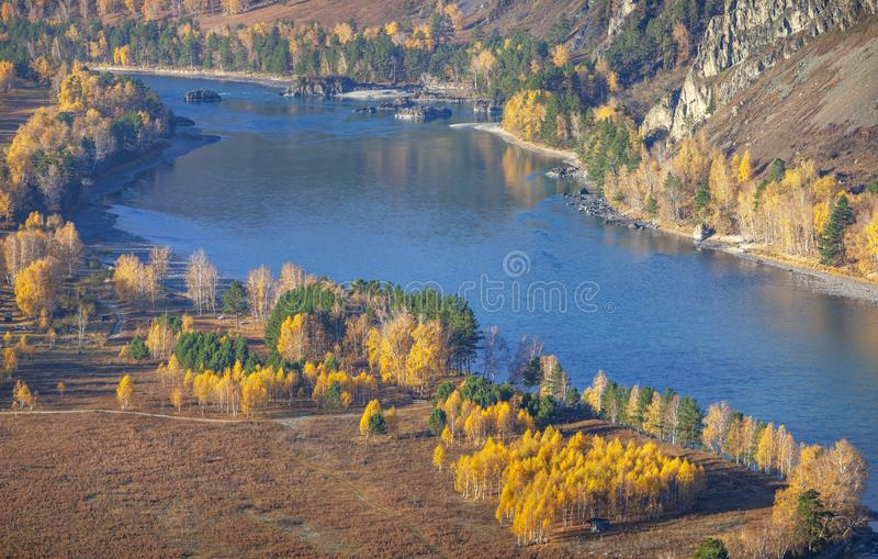 Over the mountain river Katun in the Altai mountains stock image