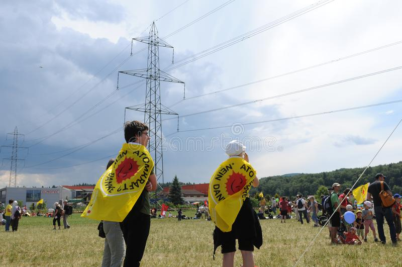 Over 20 `000 people joined the anti nuclear power demonstration stock photos