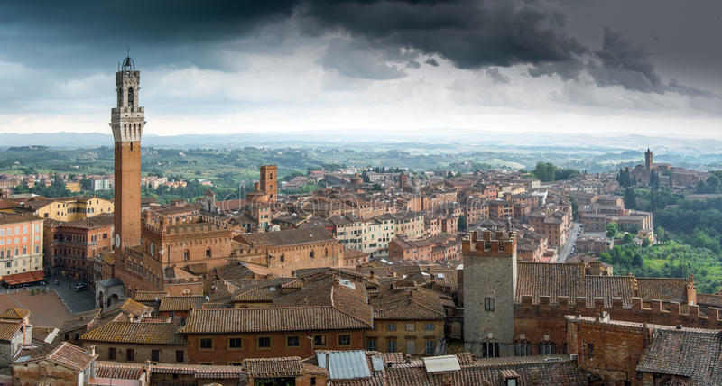 Over the rooftops of Siena stock photos