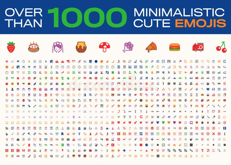Over Than 1000 Minimalistic Cute Emojis, All Type Emoticons, Vector Icons 向量例证