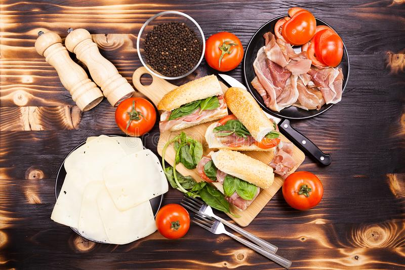 Over top view on healthy delicious home mande sandwiches stock photo
