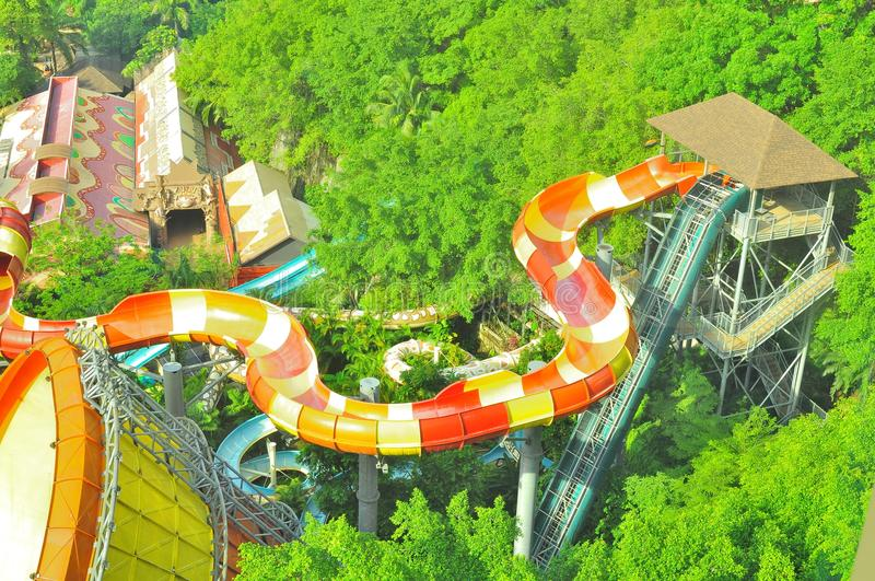 Sunway Lagoon water theme park over view. The over top view of a lengthy, high rise and thrilling Sunway Lagoon water slides royalty free stock photo